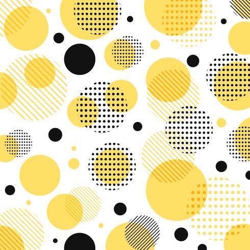 Abstrakt modern gul, svart prickmönster med linjer diagonalt på vit bakgrund. vektor