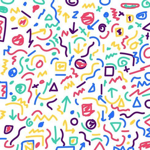 Hand getrokken kleurrijke geometrische grenspatroon en lijnenbundel op witte achtergrond. vector