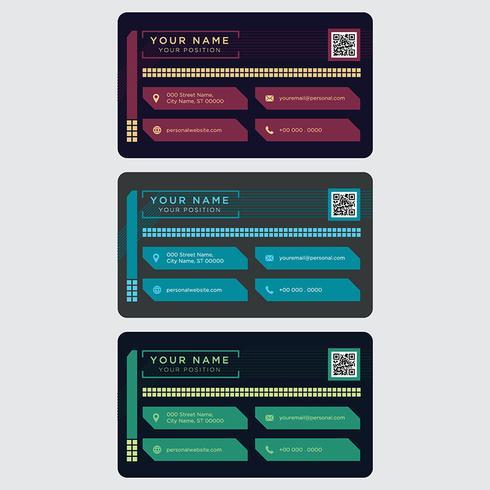 Colección colorida de la tarjeta de visita vector