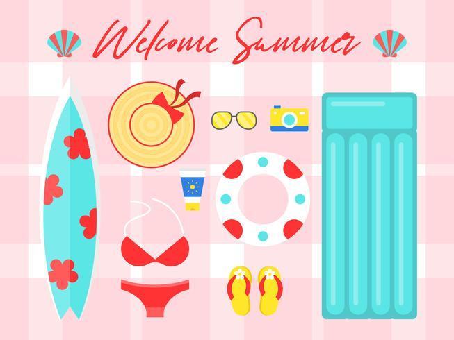 Férias de verão, ilustração em vetor verão praia cartaz