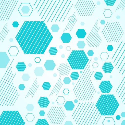 Esquema mecánico abstracto hexágonos geométricos azules y patrón de líneas. vector
