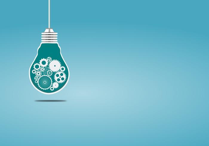 Conceptenbol met radertjes en toestellen een idee vectorillustratie op blauwe achtergrond.