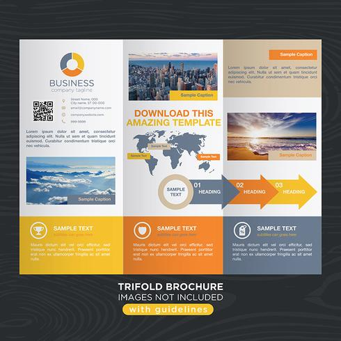 Yellow Orange Trifold Business Fold Brochure