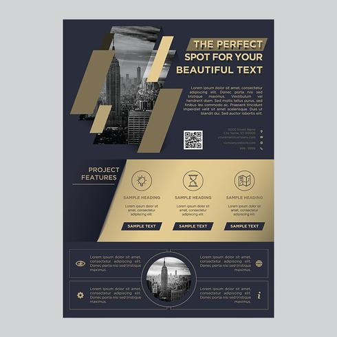 Brochure commerciale Golden Dark Blue Flyer vecteur