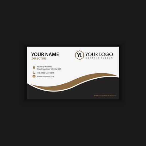 Modern Creative and Clean Business Card Template with gold dark color