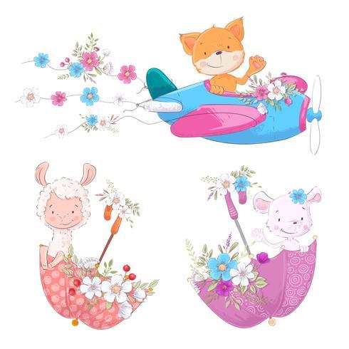 Stel schattige cartoon dieren vos Lama en muis op het vliegtuig en parasols met bloemen kinderen clipart. vector