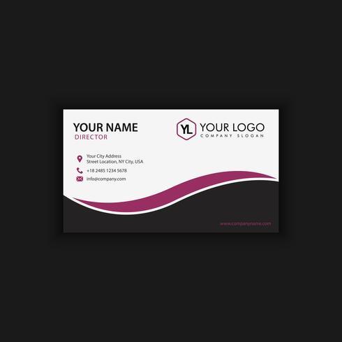 Modèle de carte de visite moderne créative et propre avec la couleur noire pourpre
