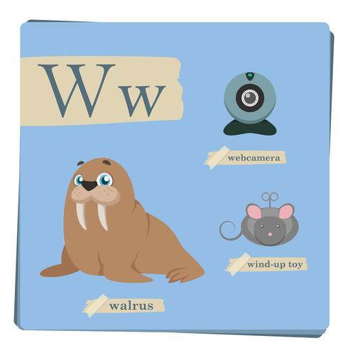 Alfabeto colorido para niños - Letra W vector
