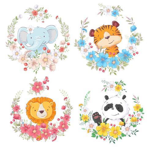 Set van cartoon schattige dieren olifant tijger leeuw en panda in bloemkransen voor kinderen clipart.