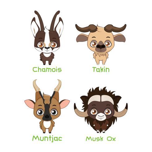 Ensemble de divers herbivores avec des cornes
