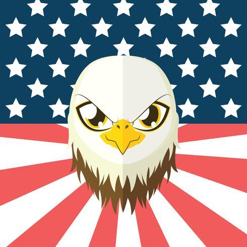 Águila en estilo plano con bandera USA en el fondo. vector