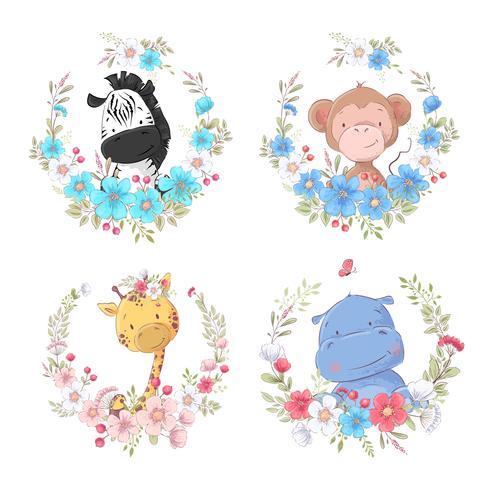 Set of cartoon cute animals zebra monkey giraffe and hippo in flower wreaths children's clipart.