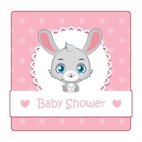 Leuk teken voor babydouche met konijn