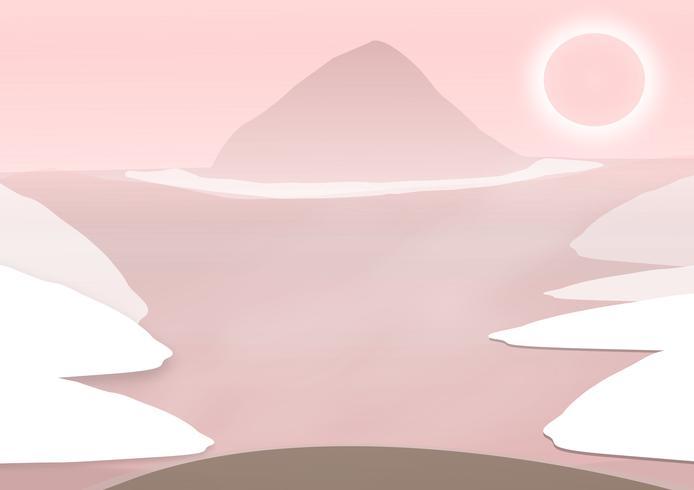 Ilustración Vector de fondo de diseño con el paisaje de verano caliente en las montañas Estilo rosado, bosque.