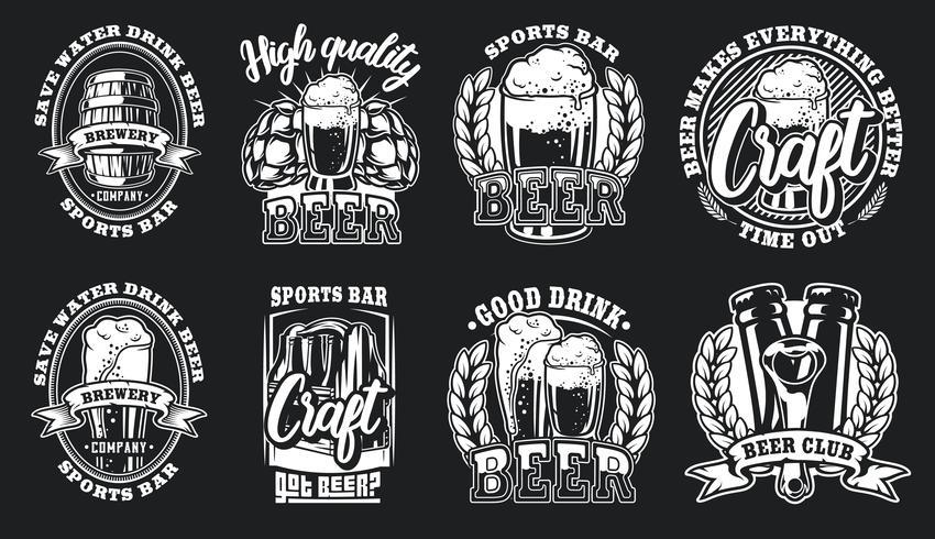 Conjunto de ilustrações de logotipos de cerveja vetor