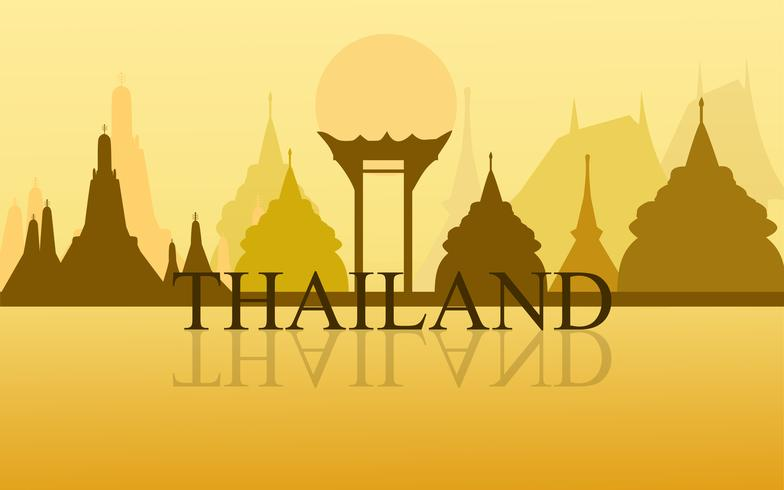 Thailand Amazing Tourism wat arun temple gold color design vector. Thai art graphic sign illustration.