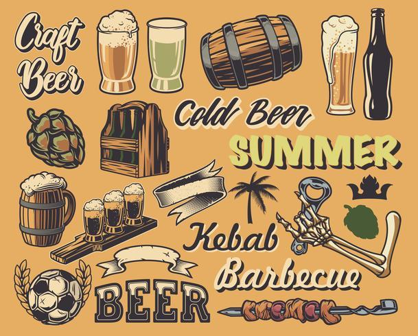 Grote reeks elementen voor het ontwerp van vintage posters