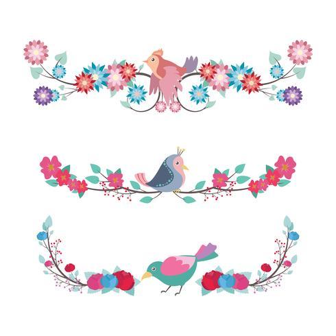 Conjunto divisor floral con pájaros de colores.