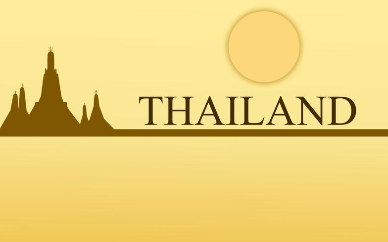 Diseño asombroso del color oro del templo del arun del wat del turismo de Tailandia para el vector de la bandera. Ilustración gráfica de la muestra del arte tailandés.