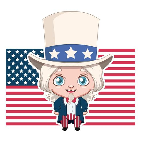 Uncle Sam karaktär med USA: s flagga