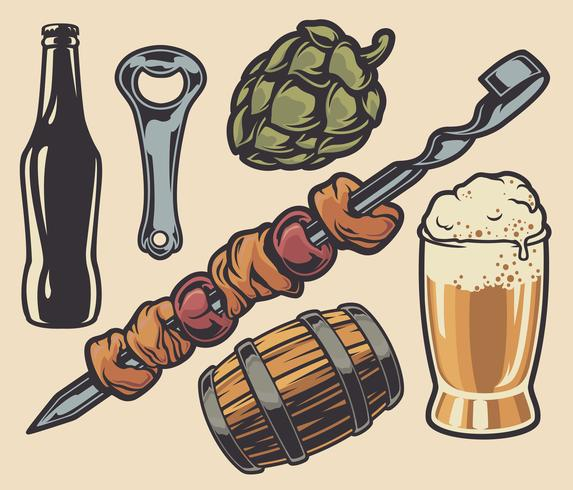 Set of elements on the theme of barbecue and beer