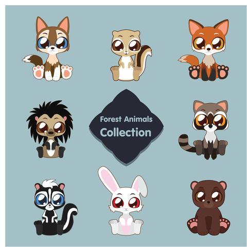 Collezione di simpatici animali del bosco vettore