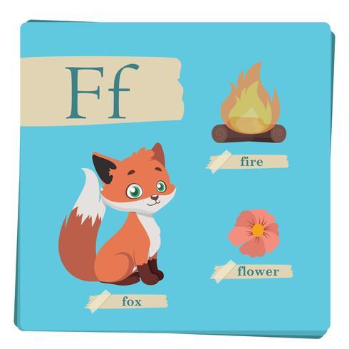 Alfabeto colorido para crianças - letra F vetor
