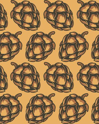 Modèle sans couture de cônes de houblon vecteur