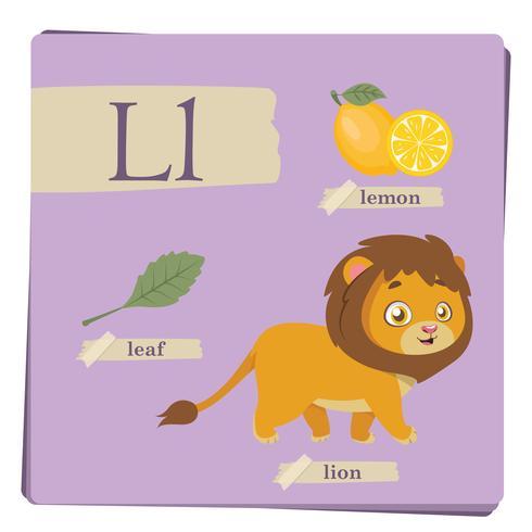 Alfabeto colorido para crianças - letra L vetor