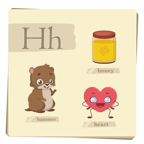 Alfabeto colorido para crianças - letra H vetor