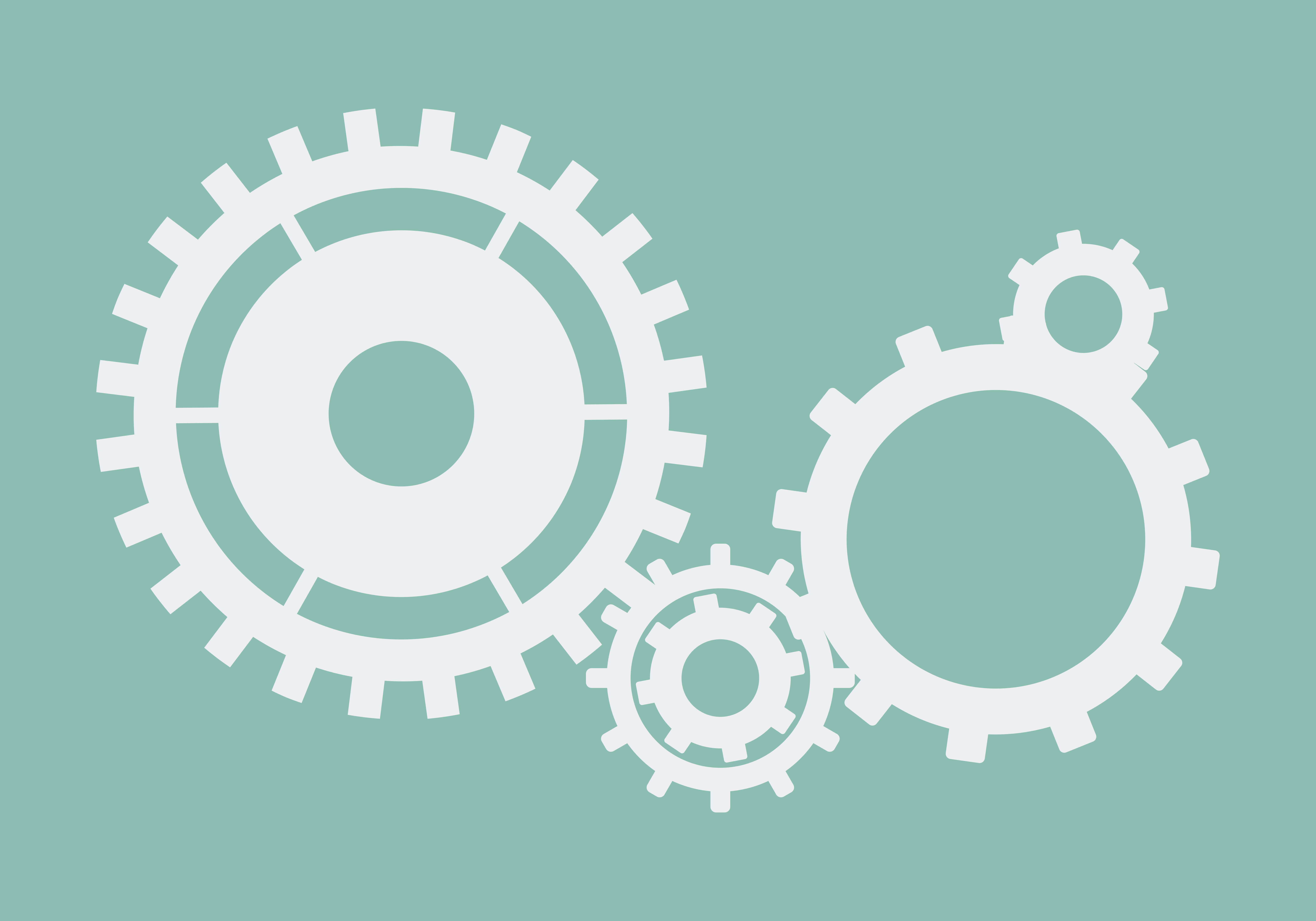 Cogs and gears icon engineering vector in blue on isolated ...