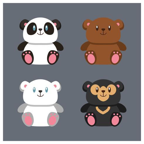 Sats av fyra söta lilla knubbiga nallebjörnar
