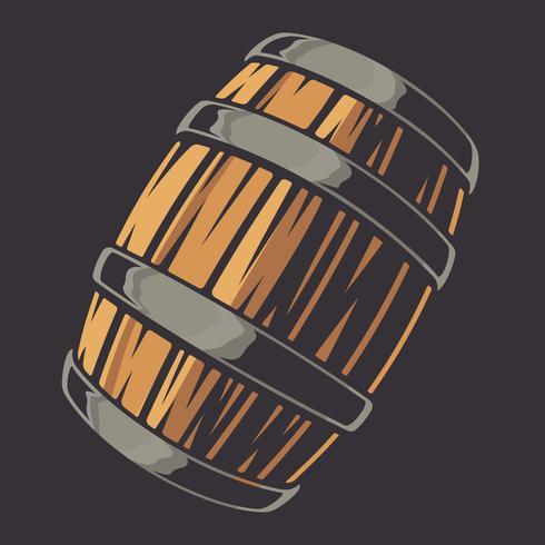 Illustrazione vettoriale di un barile di birra su uno sfondo scuro