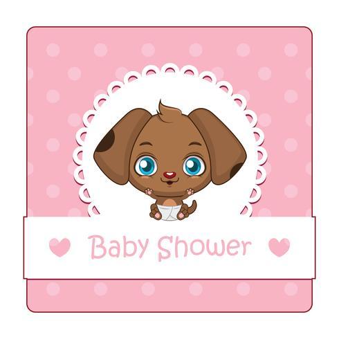 Signe mignon pour baby shower avec chien vecteur