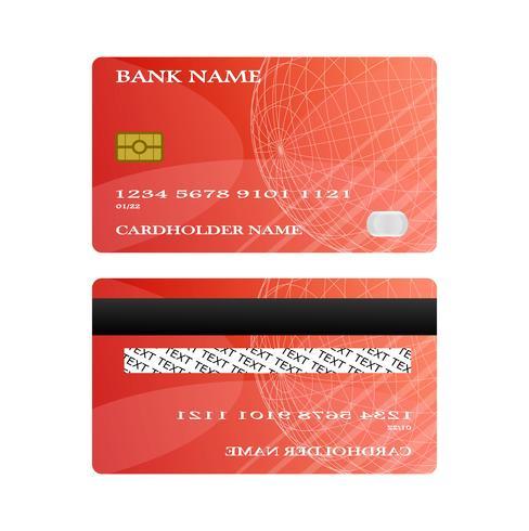Tarjeta de crédito roja frente y parte posterior aislada sobre fondo blanco. concepto de ilustración vectorial Diseño para el pago de compras de negocios. vector