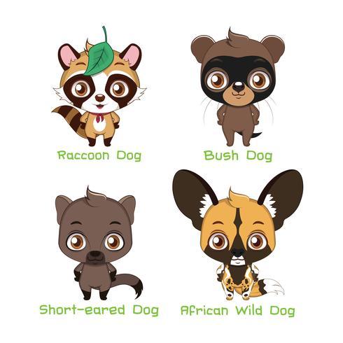 Conjunto de várias espécies caninas