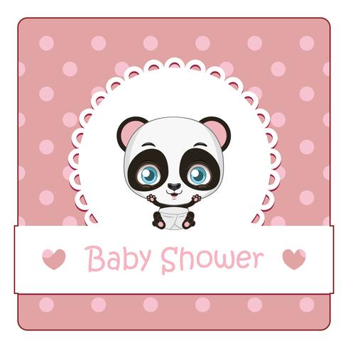 Baby shower card con simpatico piccolo panda
