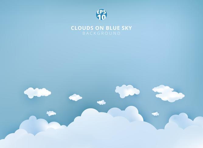 Nuages blancs sur papier art design fond bleu ciel pastel et artisanat avec espace de copie. vecteur