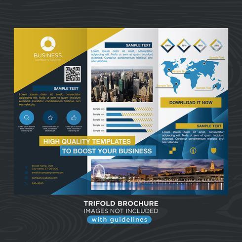 Trifold Blue Yellow Business Fold Broschyr