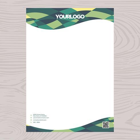 Carta intestata verde geometrica vettore