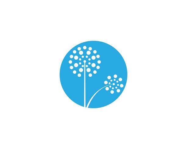 Maskros blomma logotyp vektor mall vektor