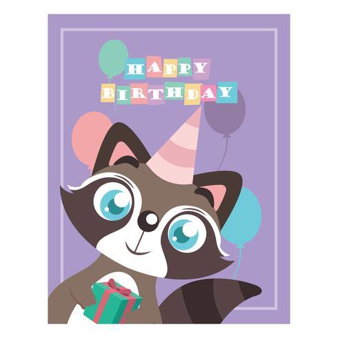 Födelsedag hälsning med söt tvättbjörn