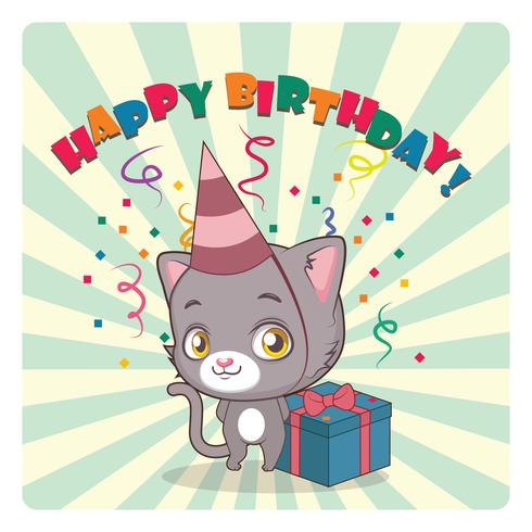 Nette graue Katze, die Geburtstag feiert