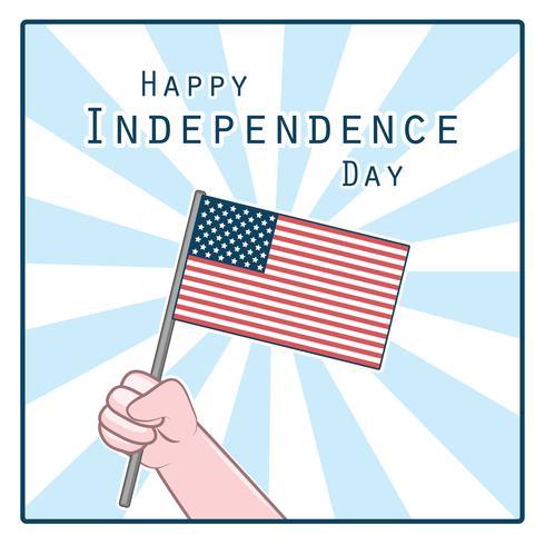 Groet met hand die de nationale vlag van de VS houdt vector