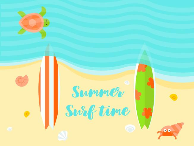 Vacaciones de verano, ilustración de vector de cartel de playa de verano