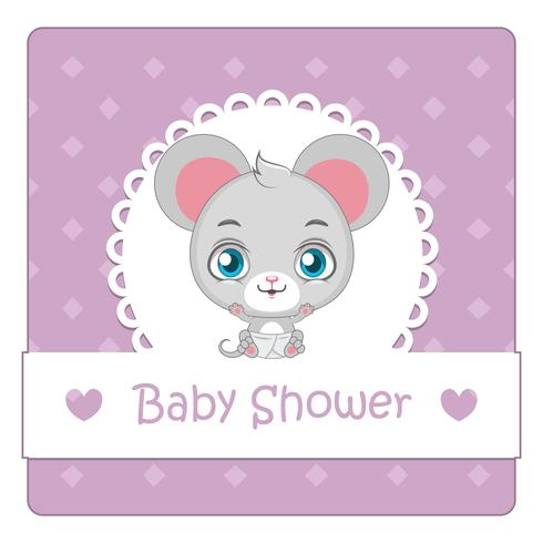 Baby shower card con mouse carino vettore