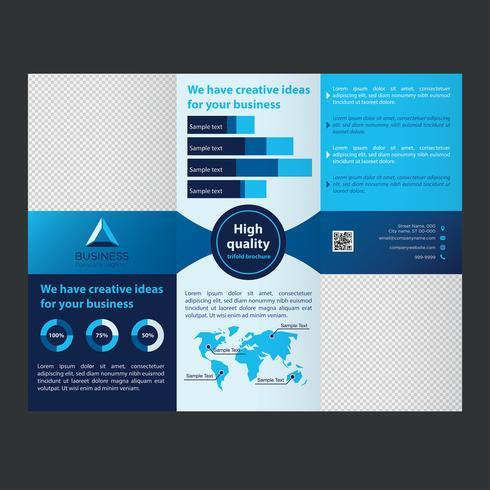 Folleto de negocios tríptico azul vector
