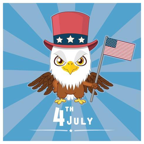 Patriottische adelaar die de vlag van de VS houdt