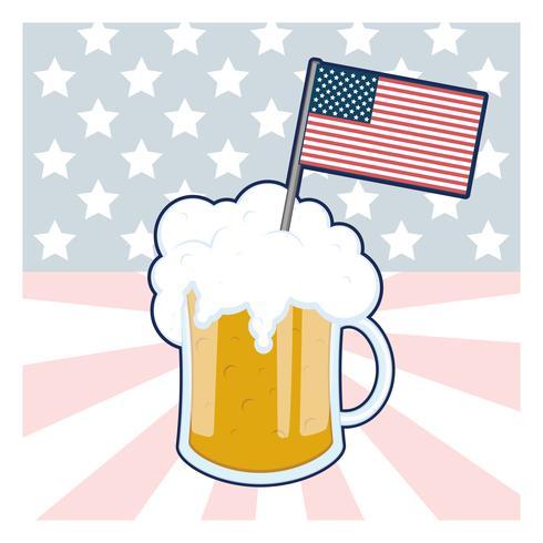 Vaso de cerveza con la bandera de Estados Unidos. vector