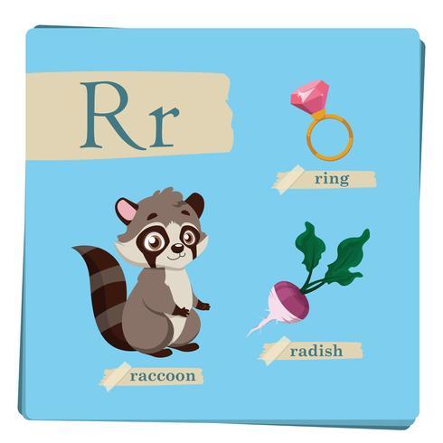 Alfabeto colorido para niños - Letra R vector